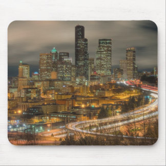 Light streaks from cars at night mouse pad