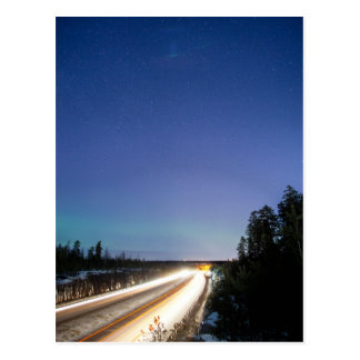 Light streaks of cars postcard