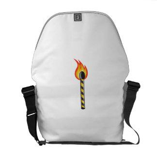 Light Striped Match Stick On Fire Retro Messenger Bag