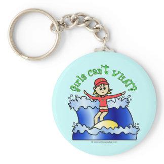 Light Surfer Girl Basic Round Button Keychain