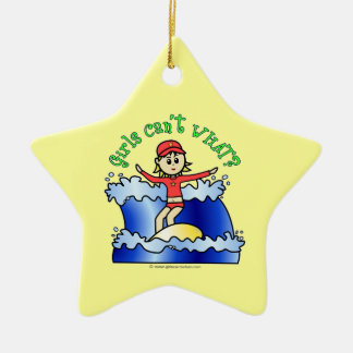 Light Surfer Girl Ceramic Ornament