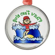 Light Surfer Girl Christmas Ornament