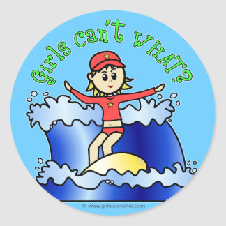 Light Surfer Girl Classic Round Sticker