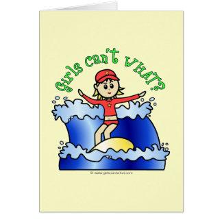 Light Surfer Girl Greeting Card