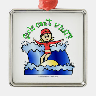 Light Surfer Girl Metal Ornament