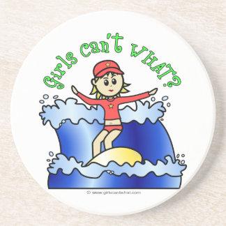 Light Surfer Girl on Surfboard Coaster