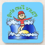 Light Surfer Girl on Surfboard Coasters