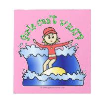 Light Surfer Girl on Surfboard Notepad
