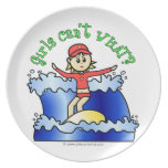 Light Surfer Girl on Surfboard Party Plate