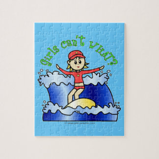 Light Surfer Girl on Surfboard Puzzles
