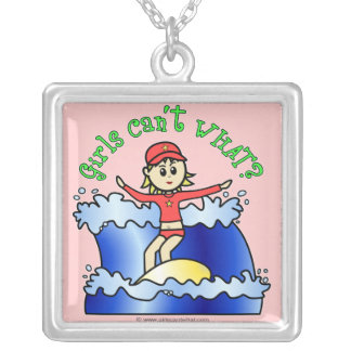 Light Surfer Girl on Surfboard Square Pendant Necklace