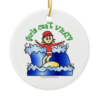 Light Surfer Girl Double-Sided Ceramic Round Christmas Ornament