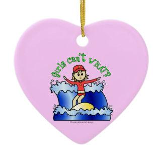 Light Surfer Girl Double-Sided Heart Ceramic Christmas Ornament