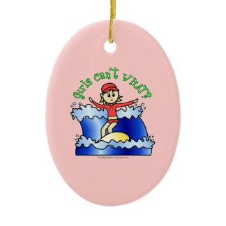 Light Surfer Girl Double-Sided Oval Ceramic Christmas Ornament