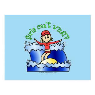 Light Surfer Girl Postcard