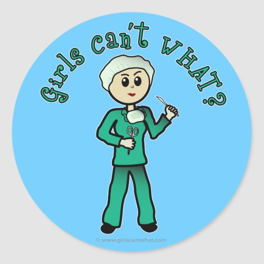 Light Surgeon Girl Classic Round Sticker