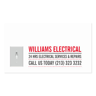 Light Switch Black and White Electrician Business Card