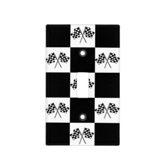 Light Switch Cover B&W Checkered Winners Flags