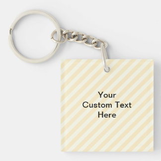 Light Tan Stripes with Black Text. Square Acrylic Keychains
