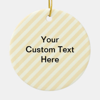 Light Tan Stripes with Black Text. Double-Sided Ceramic Round Christmas Ornament