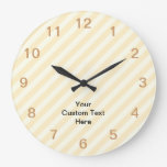 Light Tan Stripes with Black Text. Round Clock