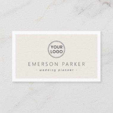 Light tan white border modern minimalist add logo business card