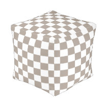 Light Taupe and White Checkered Ottoman