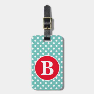 Light Teal and White Polka Dot with Red Monogram Luggage Tag