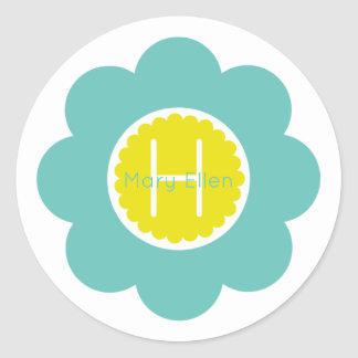 Light Teal and Yellow Flower Monogram Classic Round Sticker