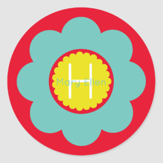 Light Teal and Yellow Flower on Red Monogram Classic Round Sticker