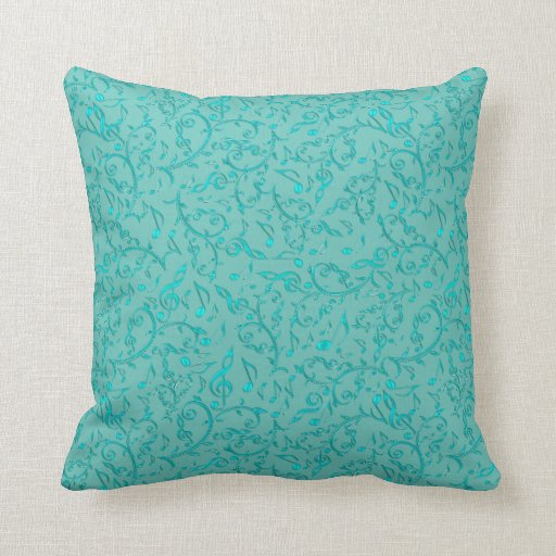 Light Teal Aqua Music Note Pattern Throw Pillow Zazzle