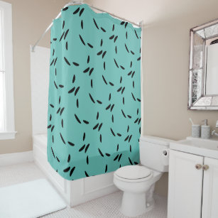 Light Teal Black Abstract Dots Shower Curtain