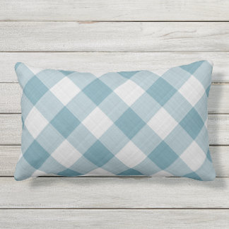 Light Teal Blue Country Cottage Gingham Stripes Outdoor Pillow
