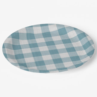 Light Teal Blue Country Cottage Gingham Stripes Paper Plate