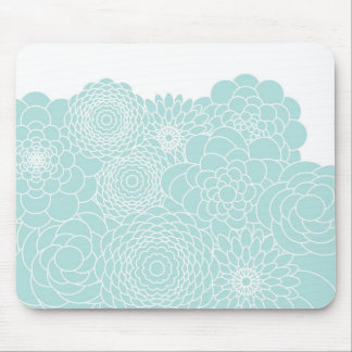 Light Teal Floral Modern Abstract Flowers Mouse Pad