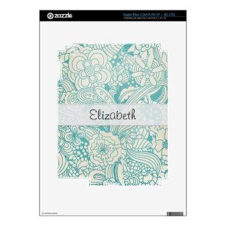 Light Teal Flowers Stitched Vellum iPad 3 Decals