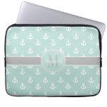 Light Teal Gray Moroccan Quatrefoil Monogram Laptop Computer Sleeves