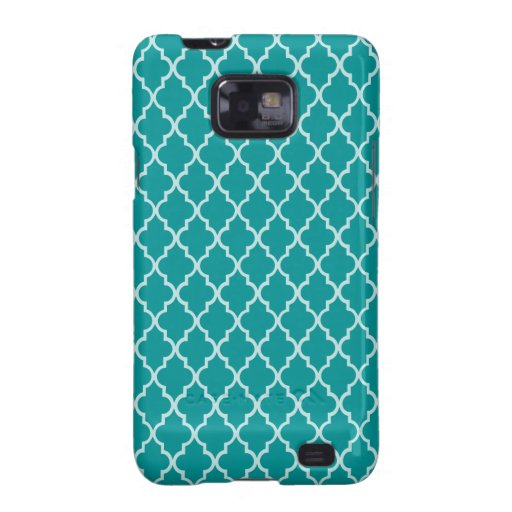 Light Teal Green & White Moroccan Trellis Pattern Galaxy SII Cases