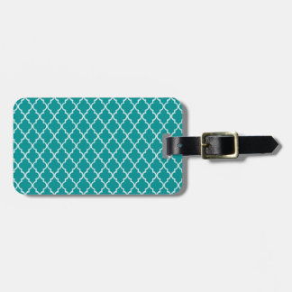 Light Teal Green White Moroccan Trellis Pattern Luggage Tags