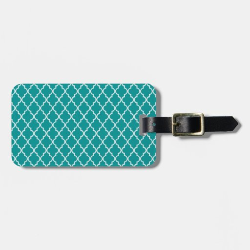 Light Teal Green & White Moroccan Trellis Pattern Luggage Tags