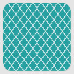 Light Teal Green & White Moroccan Trellis Pattern Square Stickers