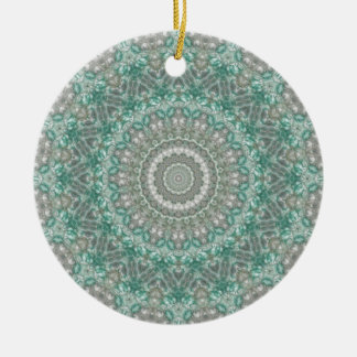 "Light Teal & Grey ""Seasons: Winter"" Mandala Double-Sided Ceramic Round Christmas Ornament"