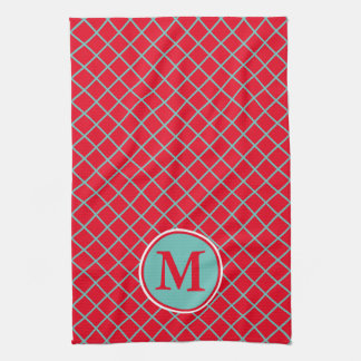 Light Teal Lattice Stripes on Bright Red Monogram Kitchen Towel
