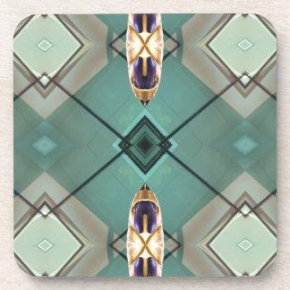 Light Teal Nuetral Tone Geometric Pattern Drink Coaster