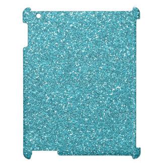 Light Teal Peacock Blue Glitter Effect iPad Case