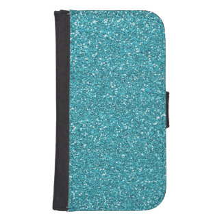 Light Teal Peacock Blue Glitter Effect Wallet Phone Case For Samsung Galaxy S4