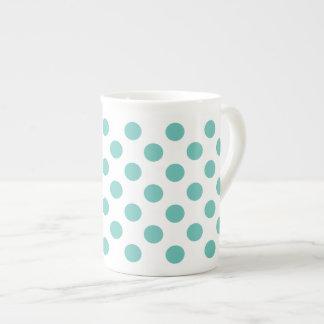 Light Teal Polka Dot Tea Cup