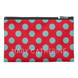 Light Teal Polka Dots on Bright Red Personalized Travel Accessory Bag