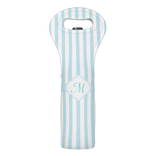 Light Teal Stripe Monogram Wine Bag