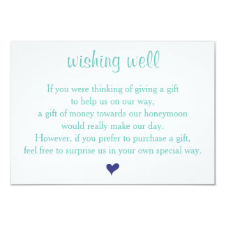 Light Teal Wishing Well Wedding Cards